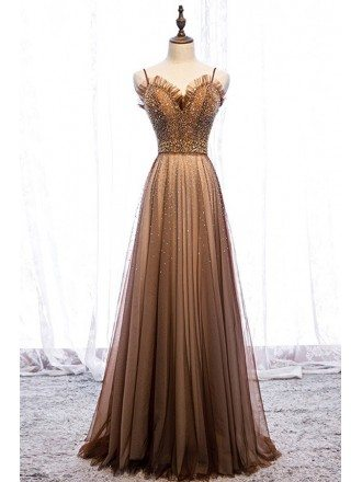 Luxury Brown Beaded Long Tulle Prom Dress With Spaghetti Straps