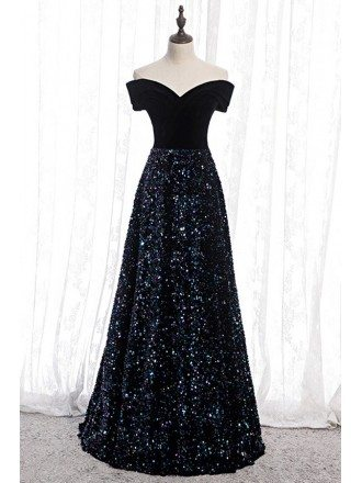 Navy Blue Sequins Aline Long Evening Dress With Off Shoulder