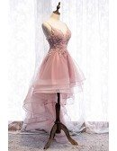 Gorgeous Pink High Low Ruffled Prom Dress With Appliques