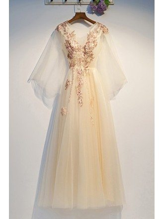 Fairy Champagne Long Tulle Prom Dress With Cape Sleeves Embroidery