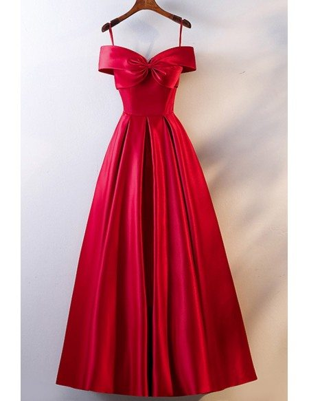 Cute Big Bow Front Satin Prom Dress With Ruffles Off Shoulder Straps