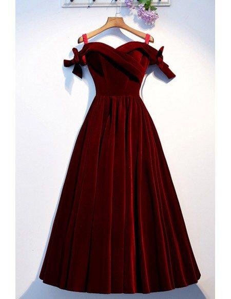 Dark Red Velvet Long Party Dress Off Shoulder