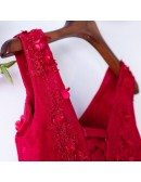 Cute Aline Tulle Tea Length Party Dress Vneck With Petals