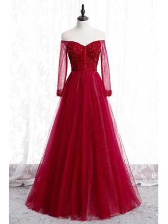 Burgundy Long Tulle Beaded Prom Dress With Long Sleeves