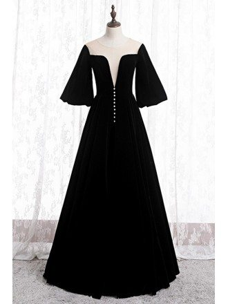 Retro Long Black Velvet Evening Dress With Puffy Sleeves
