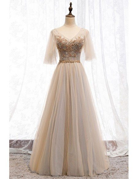 Champagne Tulle Sleeve Long Formal Party Dress With Beading