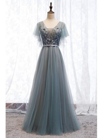 Dusty Grey Blue Tulle Flowy Prom Dress With Puffy Sleeves