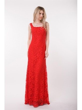 Elegant A-Line Lace Red Dress With Sweep Train