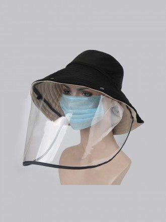 Removable round Hat with Anti-spitting plastic face shield for sale