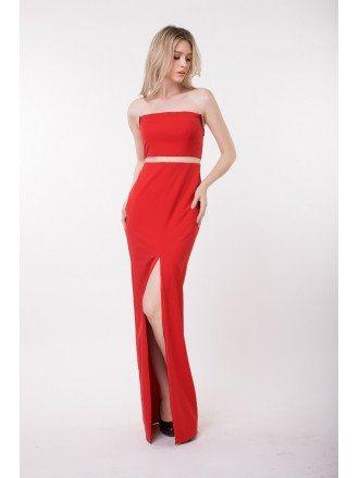 Elegant Sheath Strapless Polyster Evening Dress With Front Split