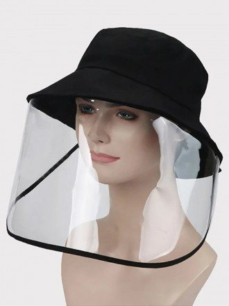 Anti-Saliva Face Shield Outdoor Hat Black Hat With Plastic Shield