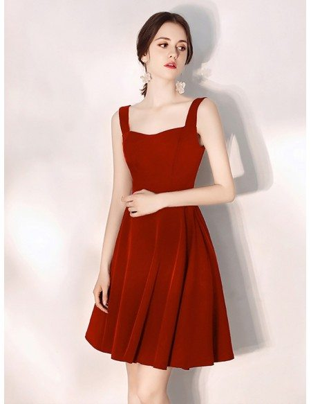 Simple Burgundy Daily Wear Little Red Dress For Parties