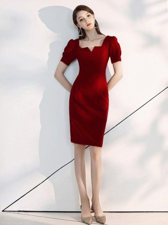 Fitted Short Burgundy Party Dress With Bubble Sleeves