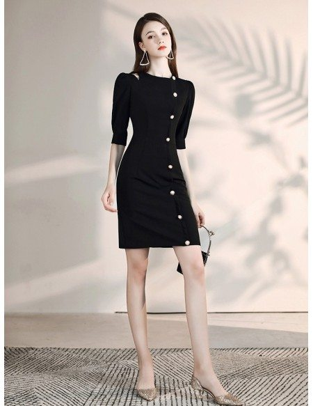 Buttons Tight Little Black Semi Formal Dress With Half Sleeves