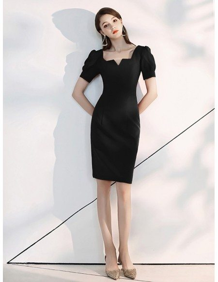 Retro Frenchy Scoop Neck Black Party Dress With Bubble Sleeves