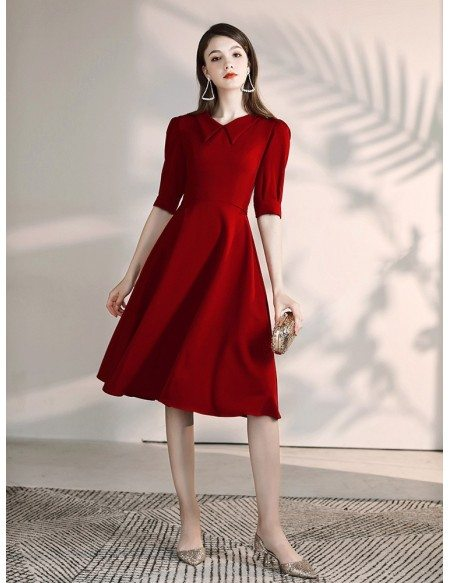 A Line Burgundy Short Sleeved Party Dress With Collar