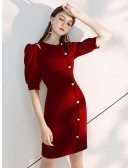 Frenchy Style Short Sleeve Burgundy Party Dress With Buttons