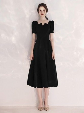 Tea Length A Line Black Formal Dress With Retro Neck