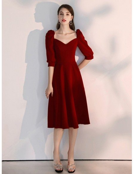 Simple A Line Tea Length Party Dress With V Neck Sleeves