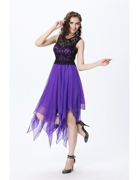 Purple Chic A-Line Lace Chiffon Asymmetrical Wedding Party Dress