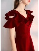 A Line Knee Length Burgundy Party Dress With Ruffled Neckline