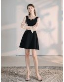 Little Black Cocktail Casual Dress With Sheer Sleeves