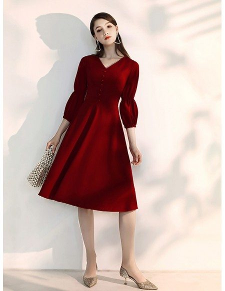 Simple Tea Length Burgundy Party Dress With Sleeves