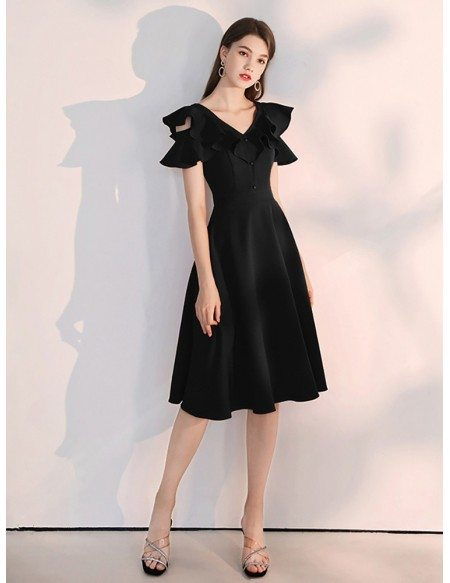 A Line Tea Length Black Semi Formal Dress With Ruffled Sleeves