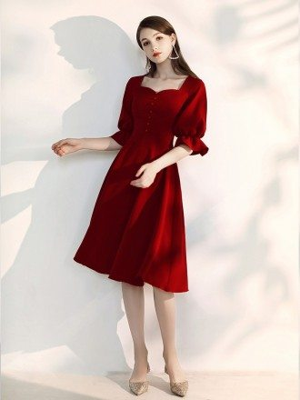 Elegant Tea Length Burgundy Semi Formal Dress With Flare Sleeves
