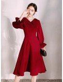 Retro Collar Tea Length A Line Burgundy Dress With Flare Sleeves