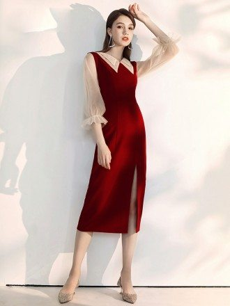 Fitted Tea Length Burgundy Party Dress With Sheer Collar Sleeves