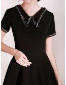 Modest Short Little Black Party Dress With Sleeves