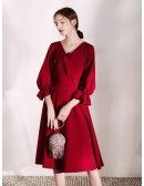 Fashion Short Sleeved Burgundy Party Dress With V Bow Neck