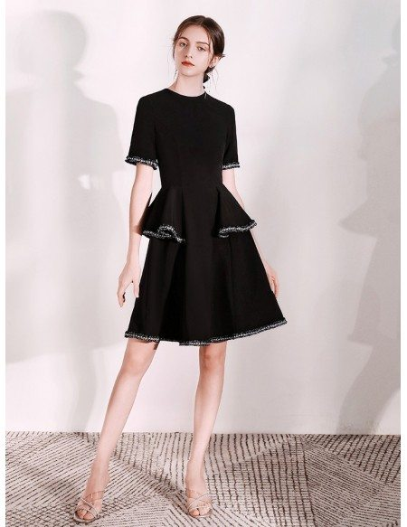 Two Layered Black Formal Dress With Short Sleeves