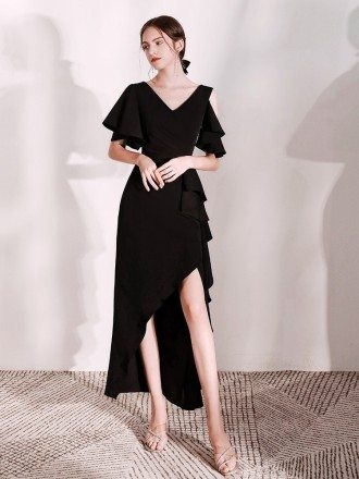 Hi-lo Long Black Formal Dress With Cape Sleeves