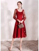 Special Star A Line Scoop Burgundy Dress With Sheer Sleeves