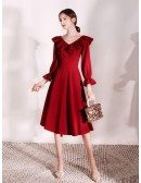 Ruffled V Neck Tea Length Burgundy Party Dress With Sleeves