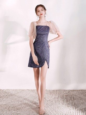 Sparkly Cocktail Silver Scoop Party Dress With Sheet Sleeves