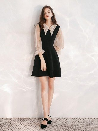 Simple A Line Short Little Black Dress With Sheer Collar Sleeves