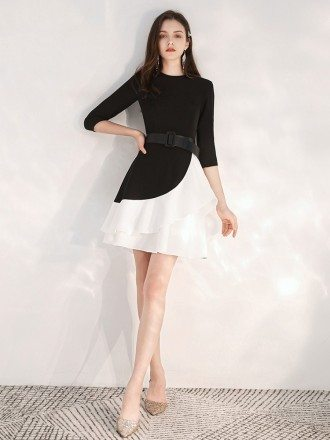 Special Short Sleeved A Line Black Dress With White Skirt