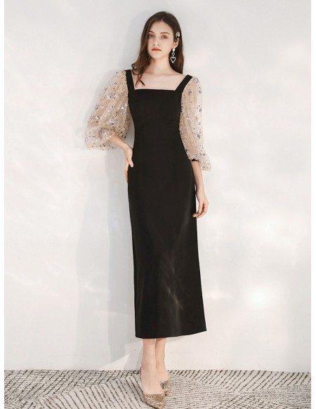 Slim Tea Length Black Scoop Formal Dress With Sequin Sleeves