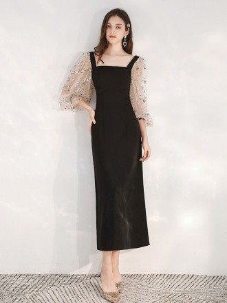 Slim Tea Length Black Scoop Formal Dress With Sequin Sleeves