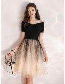 Off Shoulder Black And Champagne Party Dress With Obmre Sequin Skirt
