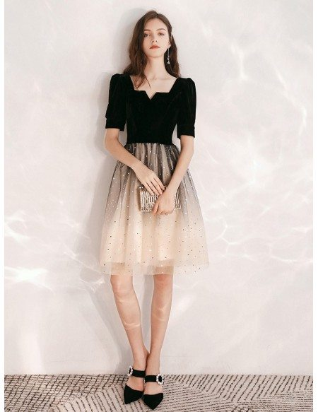 Obmre Black And Champagne Sequin Party Dress With Short Sleeves