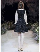 Shining Lace Retro Short Black Dress With Long Sleeves