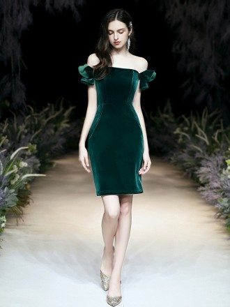 Sexy Tight Short Velvet Green Party Dress With Off Shoulder