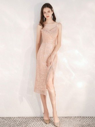 Sexy Sparkly Sequin Tea Length Party Dress With Slit
