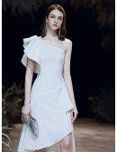 Elegant One Shoulder White Formal Dress In High Low Length