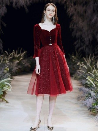 Tulle Velvet A Line Short Burgundy Party Dress With Sleeves