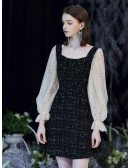 Shining Cocktail Black Party Dress With Champagne Sequin Sleeves